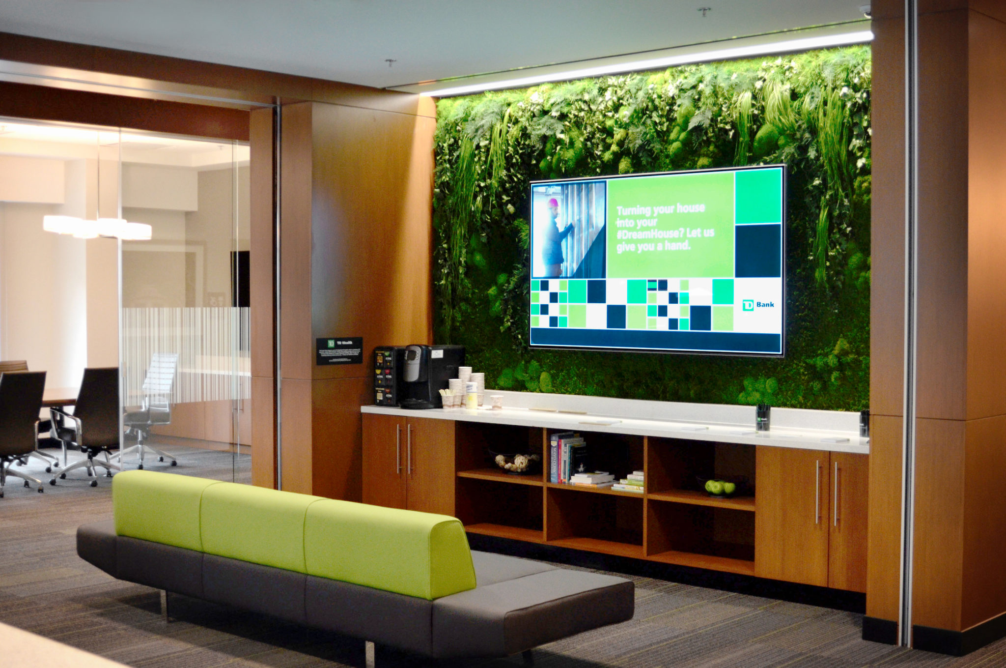 TD Bank in Princeton features a lush moss and fern plant walls