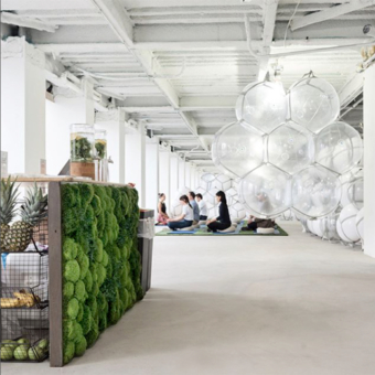 moss art panel in popup yoga space in New York City
