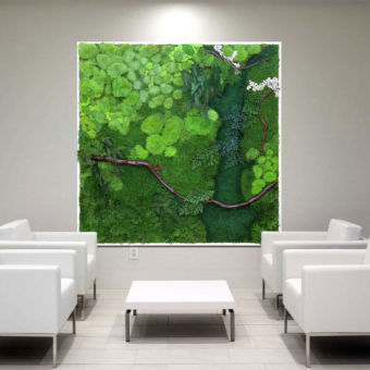 Artisan Moss plant painting of the Potomac River in the Eisenhower Building, Virginia