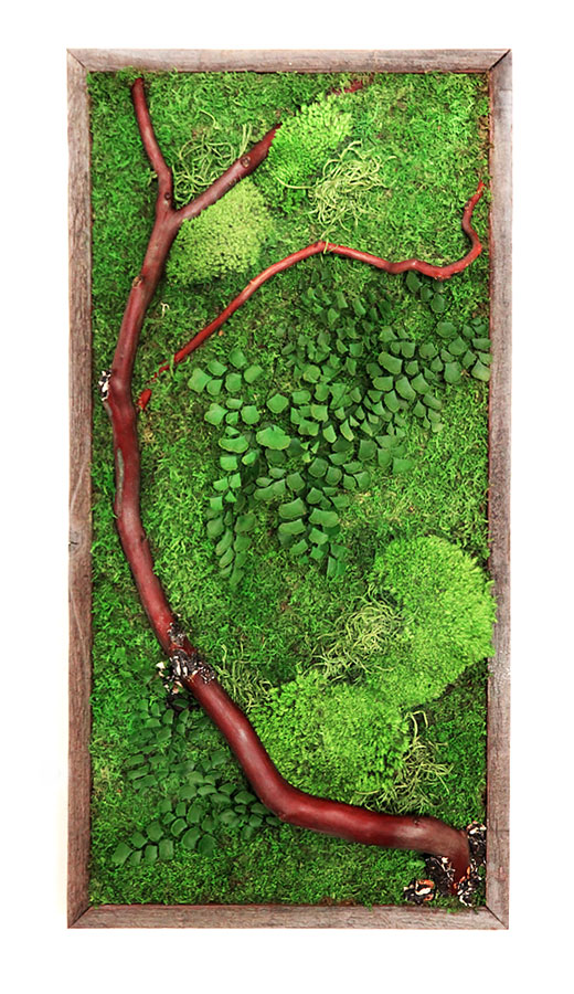 Natural red branches add a pop of color to Artisan Moss and ferns.