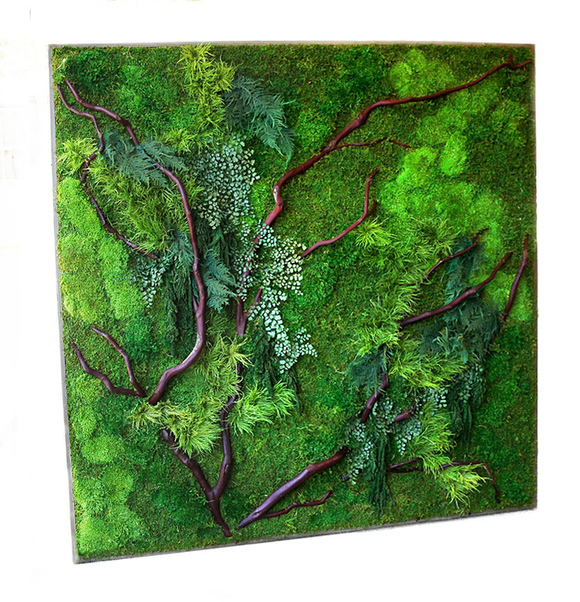 Red branches, mosses and ferns create natural Artisan Moss textures.