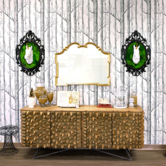 Artisan Moss Unicorn frame and tree wallpaper interior.