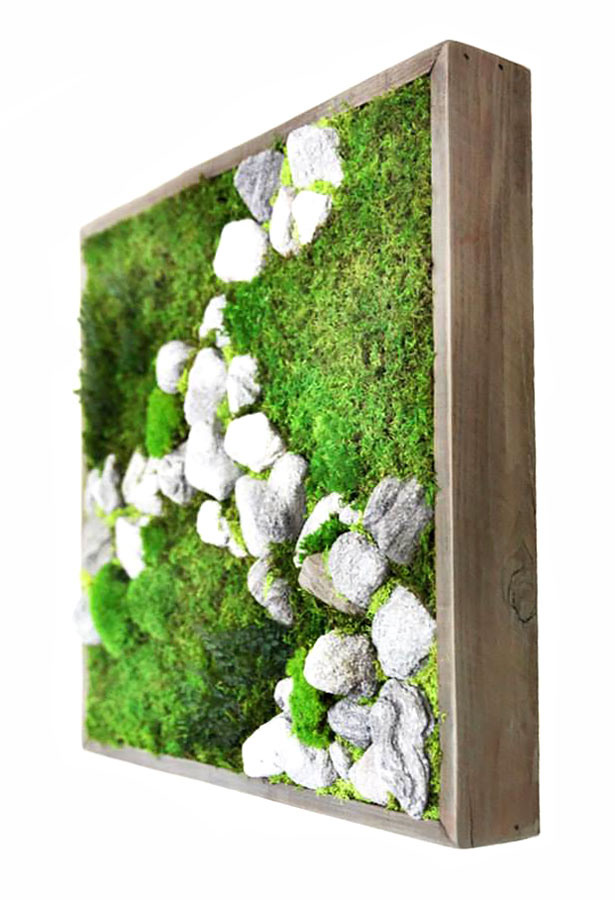 A simple, beautiful natural wood frame with green Artisan Moss and rocks